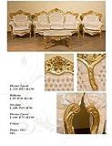 Sofá 3plazas barroco hoja oro maciza con 2sillones y mesa encimera mármol