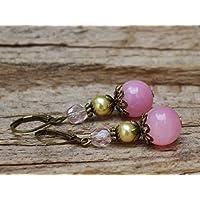 Vintage Ohrringe mit Jade & Glasperlen - rosa & bronze