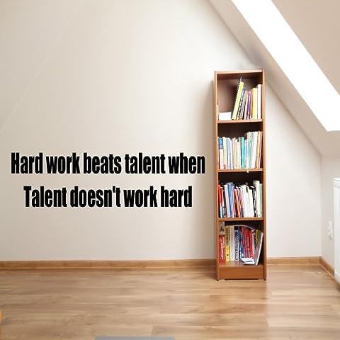 Hard work beats talent autocollant de décalque de mur de vinyle Vinyl Decal 1 100x55 (Colour)