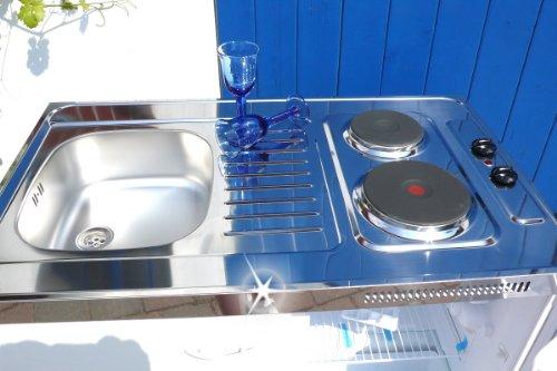 Details for Singleküche Pantryküche 100 cm weiß Miniküche Büroküche Kochplatte Spüle Kühlschrank des Herstellers Non