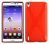 Cadorabo DE-101849 - Cover in Silicone TPU Flessibile per Huawei Ascend P7, Design X-Line, Colore: Rosso