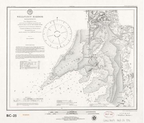 Historic Map, LLC 1976 Karte Wellfleet Harbor, Massachusetts - Größe: 50,8 x 61 cm - fertig zum Einrahmen - Cape Cod Bay & Massachuset Bay Cape
