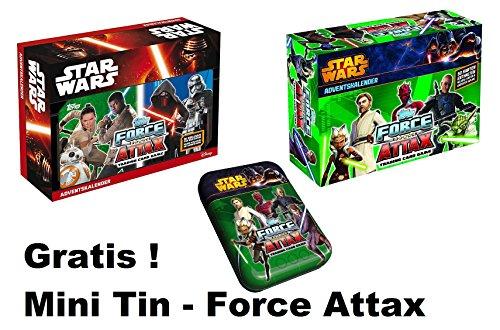 Topps Star wars Bundle Force Attax Adventskalender 2 verschiedene + Gratis ! Mini-Tin Force Attax