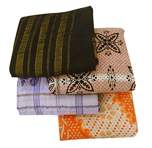 Weinlese-Lot Of 4 Indian Saree reiner Baumwolle Vorhang drapieren Multicolor Sari (Vorhang Drapieren Sari)