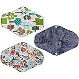 MagiDeal 3pcs Almohadillas Menstruales de Algodón Reutilizable de Paño Compresa Sanitaria Almohadilla de Braga Menstrual 3 Estilos
