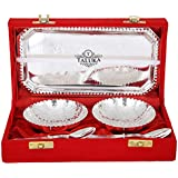 Taluka High Qualilty Silver Plated 2 Bowl Deep Dish 2 Spoons 1 Tray For Desert Bowl Tray Spoon Set Gift Item