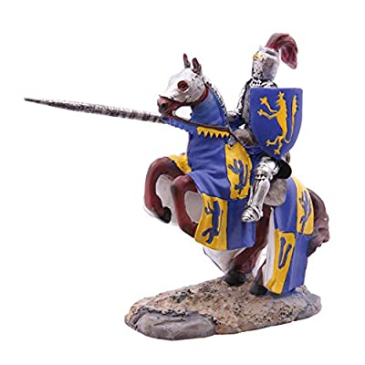 Fantasy Knight Figurine on Rearing Horse - Yellow and Blue