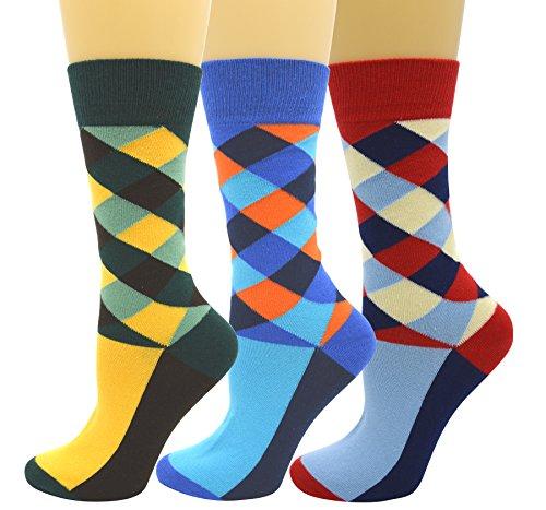 JITTY Herren Socken Cotton Bunt Gemusterte Casual Baumwolle kariertes Kleid Crew Socken (3 Paar - C1)