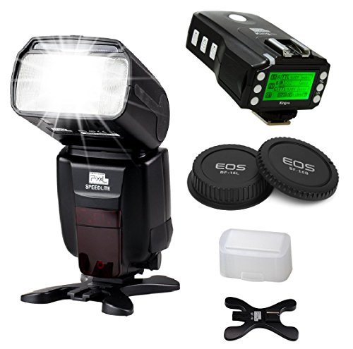 Pixel X800C PRO Flash Speedlite Kit for Canon DSLR - [1*X800C PRO ETTL Flash Speedlite]+[1*King PRO Flash Trigger Transeiver]+[1*Canon Rear Lens Cap] and Accessories