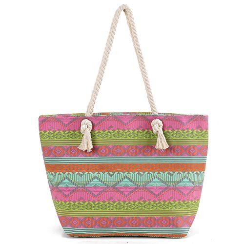 DonDon Damen Tasche für Festival oder Strand im Ethno Look