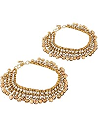 Jewels Gehna Alloy Traditional Gold Plated Sparkling Anklets Set For Women & Girls