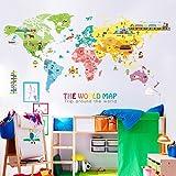 Hongrun Cartoon Weltkarte an der Wand Aufkleber ist niedlich Kinder Zimmer hintergrunddekoration Kindergarten Klasse Wallpaper Poster 100 * 200 cm.