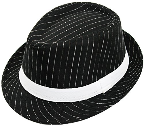 2 X BLACK AND WHITE PINSTRIPED GANGSTER FEDORA HAT - ADULT, ONE SIZE FITS MOST