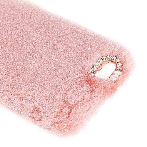 Pour IPhone 6 Plus / 6s Plus, étui protecteur pour PC Faux Fur JING ( Color : Purple ) Pink