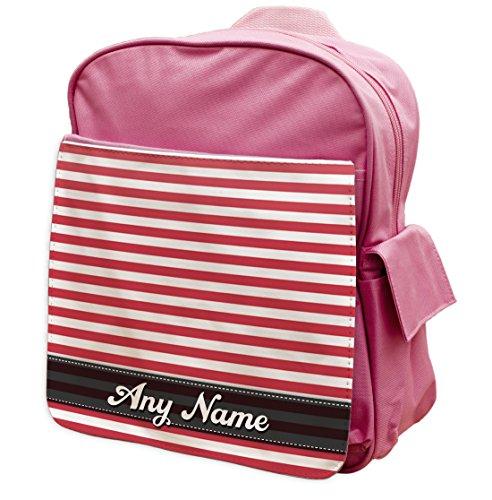 Motivo a righe rosa personalizzabile rosso zaino 106