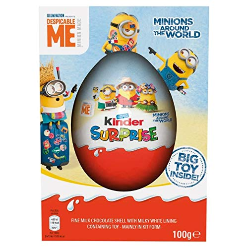 Kinder Surprise Giant Egg, 100g (Ideal As Easter Egg) Limited Edition - Minions Chocolate Egg and Toy