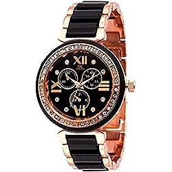 IIK Collection Analog Quartz Gift Ceramic Strap Women's Black Round Dial Wrist Watch