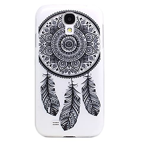 Galaxy S4 Mini Coque, JIAXIUFEN Cuir Coque Strass Case Etui Coque étui de portefeuille protection Coque Case Cas Cuir Pour SAMSUNG GALAXY S4 Mini i9190 - Henna Ojibwe Dream Catcher Ethnic Tribal Black