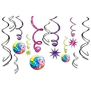 Amscan 670145 - Hängedekoration, Disco Fever 70's, 12 teilig Set