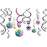Amscan - Set de espirales para decoración de discoteca (12 unidades, de las cuales 6 incluyen aplicación adicional)