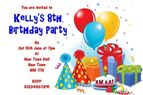 10 x Party Hat & Balloons Personalised Children'S Party Invitations - 10923