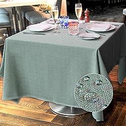 LUOLUO Mantel Rectangular a Prueba de Manchas, Impermeable, Lavable, Mantel de Tela de Lino para Mesa de Comedor, manteles de Mesa de Fiesta, Verde Claro, 145 * 215