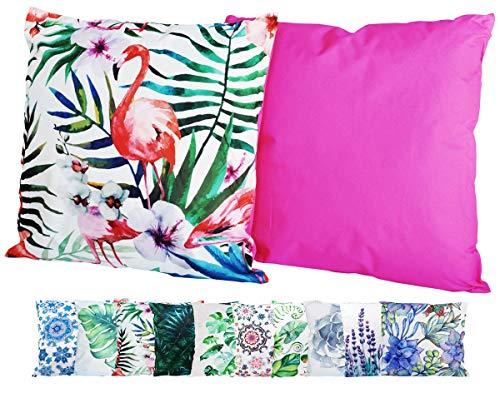 JACK Outdoor Lounge Kissen 45x45cm Motiv Dekokissen Wasserfest Sitzkissen Garten Stuhl, Farbe:Flamingo