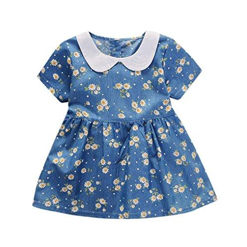 Kinderbekleidung,Honestyi Modell Kleinkind Baby Mädchen Blumen Drucken Bowknot Kurz Ärmel Prinzessin Denim Kleid Outfit Printkleider Niedlich Minikleid (24M/100CM, Blau ()