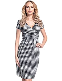 Glamour Empire. Women's Wrap V-Neck Jersey Chequered Pencil Dress Size 8-20. 068