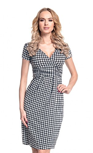 Glamour Empire. Women's Wrap V-Neck Jersey Chequered Pencil Dress Size 8-20. 068 (Black & White, 14)