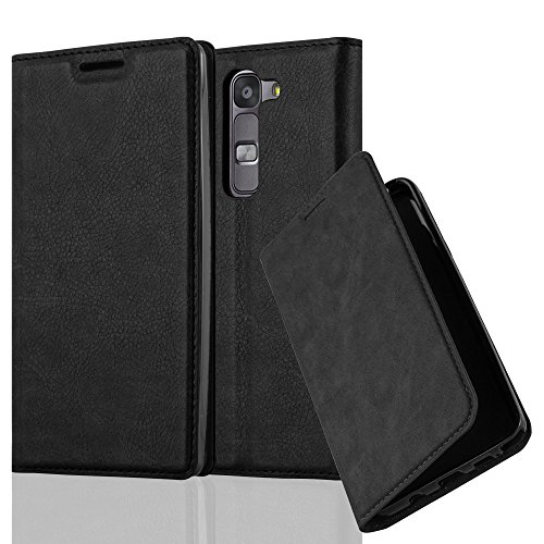 Cadorabo Hülle für LG G4C / G4 Mini/Magna - Hülle in Nacht SCHWARZ - Handyhülle mit Magnetverschluss, Standfunktion & Kartenfach - Case Cover Schutzhülle Etui Tasche Book Klapp Style