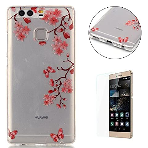 HUAWEI P9 Silicone Gel Case [with Free Screen Protector],CaseHome Crystal