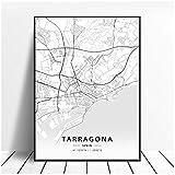 Tarragona Salamanca Ibiza Granada Cádiz Málaga España Mapa PosterPrint sobre lienzo-50x70cm Sin marco