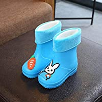 ZWXDMY Wellies,Wellington Baby Baby Winter Cotton Velvet Blue Slippery cute rabbit cotton boots, easy to clean Waterproof, Indoor Outdoor Shoes Casual