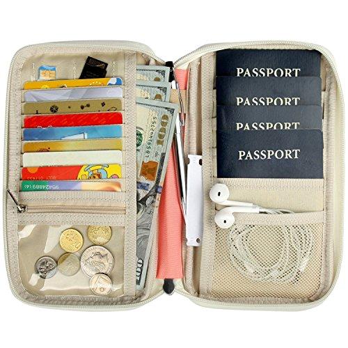 Cartera para Pasaporte, Cartera de Viaje, Cremallera Bolsillos de Organizador Bolso para Billetes Cremallera Billetes Crédito Documentos Rosa