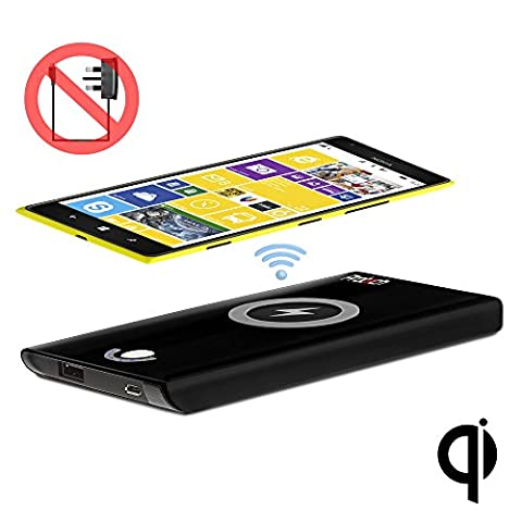 PROT3CH Qi Chargeur sans Fil 4000 mAh ENTIÈREMENT SANS FIL Batterie Externe PAS DE CONNEXION SECTEUR REQUISE Batterie Externe pour Nokia Lumia 720 / 735 / 810 / 820 / 822 / 830 / 920 / 925 / 928 / 930 / 950 / 950XL / 1020 / 1520 (Qi Wireless Receiver peut être nécessaire)