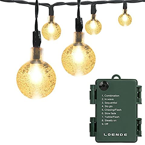 Led String Lights Outdoor Timer Battery Loende Battery Operated Powered 8Mode 30 LED Balls 6.4M / 21ft Warmwhite Waterproof Decorative Wedding Fairy Globe Light for Indoor Party Wedding Decoration Patio (warm white)