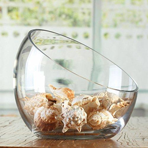 [Abgeschrägter Glasschale] Hemisphäre halbrunde Buffet Glasschale Obst Schale Obst Ornamente Oblique und schrägen Glasschale-A