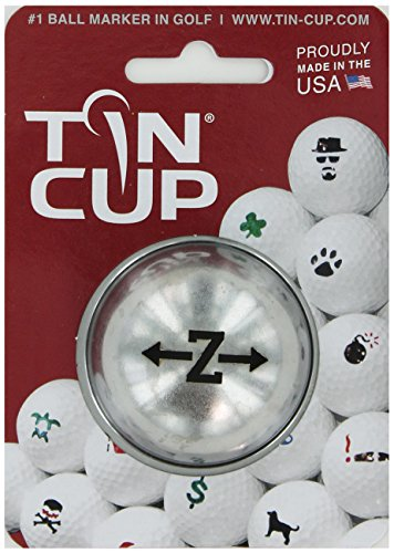 TIN CUP. GOLF BALL MARKER SYSTEM. ALPHA PLAYERS SERIES. LETTER Z