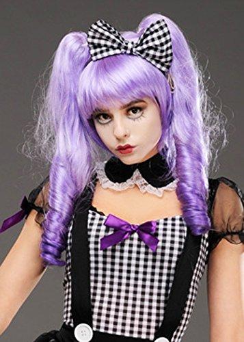 Damen Halloween Gotische Puppe Lila Dolly Bob Perücke
