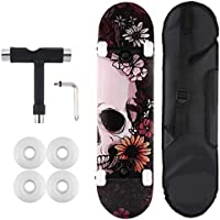 WeSkate Double Kick Trick Cool Skateboard mit Tragetasche 80x20cm 7-lagiges Ahornholz Komplett Board für Junge Mädchen und Erwachsene