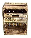Kontorei® geflammte/braune Obstkiste mit Schublade Quer 50cm x 40cm x 30cm 1er Set Obstkiste Holzkiste Regal