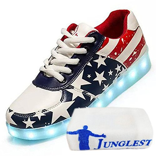 present Schuhe kleines Lackleder Rot Top Handtuch Sneaker Für Leuchtend Sportschuhe Aufladen Usb junglest® Unisex Farbe 7 Sport Turnschuhe High Led erwachsene rrw1Sqx