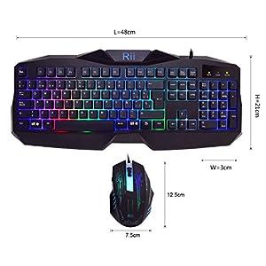 teclados: Rii RM400 Combo Teclado y ratón LED para GAMERS. (Retroiluminado con 7 colores L...