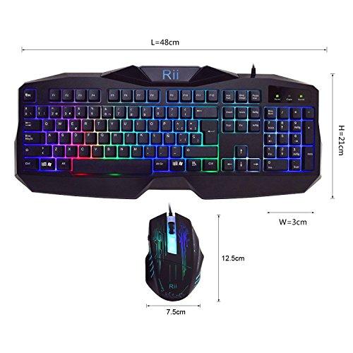 Rii RM400 Combo Teclado y ratón LED para GAMERS. (Retroiluminado con 7 colores...