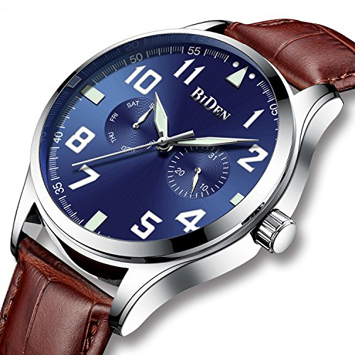 Herren Uhren Männer Große Gesicht Wasserdichte Sportuhr Analog Quarz Leuchtendes klassisches Leder-Geschäfts-einfache Designer-Kleid-Armbanduhren für Männer