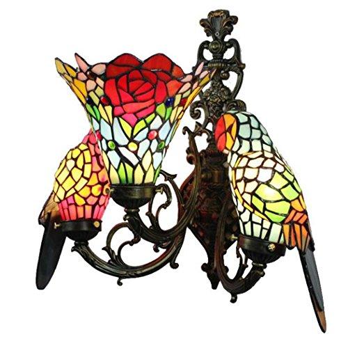Retro Wandleuchte, Tiffany Stil Glasmalerei Papagei Design Wandleuchte, Europäische Kreative Wohnzimmer Esszimmer Schlafzimmer Bar Club Dekorative Wandleuchte E27 Ohne Lichtquelle -