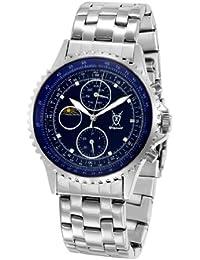 Reloj Clásico de Caballero con Brazalete Plateado, Esfera Azul con Acentos de Diamante y Multi-función Día-Fecha, y Día-Noche SQ201450G de Konigswerk