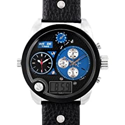 Alienwork DualTime Analogue-Digital Watch Multi-function LCD Wristwatch XXL Oversized Leather black black OS.WH-2305-5