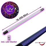 UV LED Schwarzlicht Röhre für konventionelle Vorschaltgeräte • Blacklight LED Ersatzröhre für Halterungen mit regulärem Ballast • 10W Leistung • inclusive LED Starter • 395nm Wellenlänge • T8 Format • 230V/50Hz (60cm)
